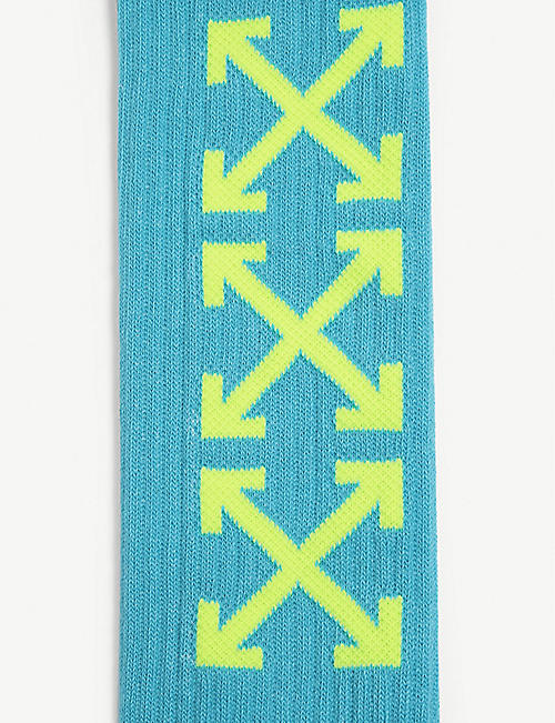 OFF-WHITE C/O VIRGIL ABLOH Logo-intarsia cotton-blend socks