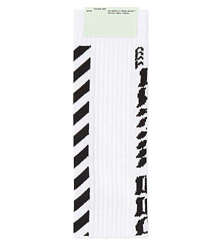 7266e48469df OFF-WHITE C O VIRGIL ABLOH Diagonal stripe cotton-blend socks (White