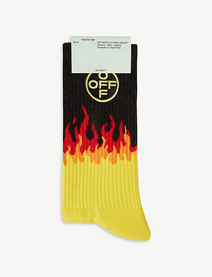 OFF-WHITE C/O VIRGIL ABLOH Flame-print cotton-blend socks