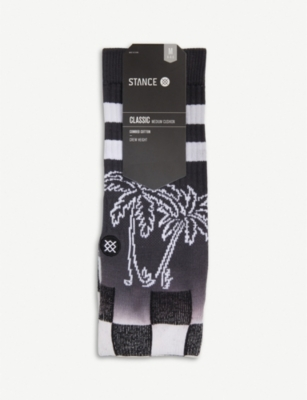 STANCE Dipped palm tree and check-print stretch-cotton socks