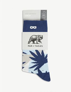 PAIR OF THIEVES Leaf print crew socks