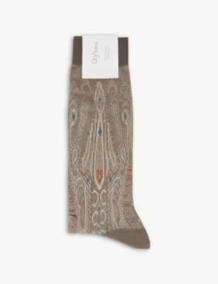AYAME Cobra metallic cotton-blend socks