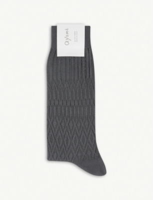 AYAME Solid Basket cotton-blend socks