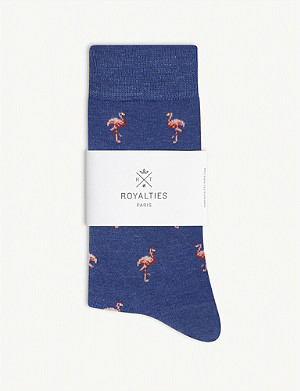 ROYALTIES Flamingo print cotton-blend socks
