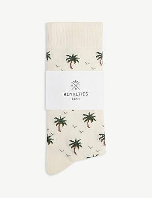 ROYALTIES Palm tree print cotton-blend socks