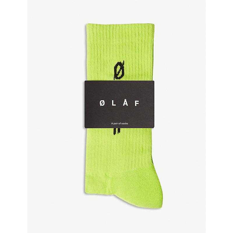 OLAF HUSSEIN Logo Cotton-Blend Socks in Neon Yellow