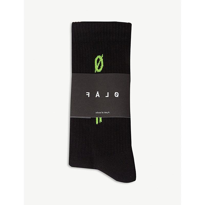 OLAF HUSSEIN Logo Cotton-Blend Socks in Black