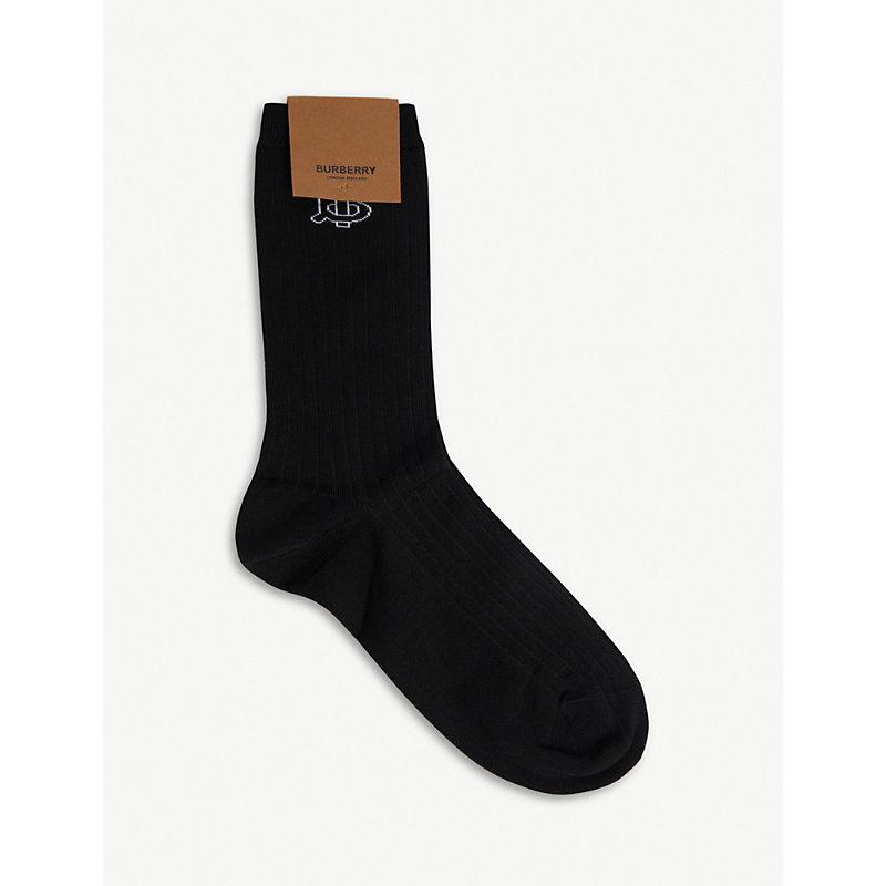 Burberry Socks LOGO-DETAIL RIBBED COTTON-BLEND SOCKS