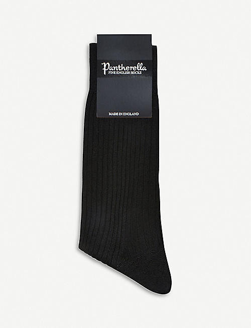 PANTHERELLA Short ribbed silk socks