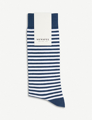 SUNSPEL Long striped cotton-blend socks