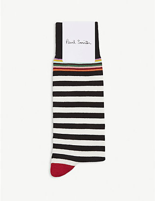 PAUL SMITH: Stripe cotton-blend socks