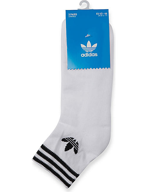 ADIDAS Logo-detail stretch-cotton socks set of three
