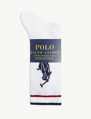 POLO RALPH LAUREN Polo player cotton-blend socks pack of 3