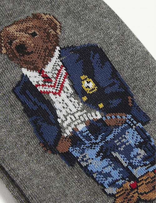 POLO RALPH LAUREN Cotton-blend embroidered bear socks