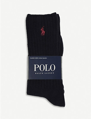 POLO RALPH LAUREN: Ribbed cotton-blend socks