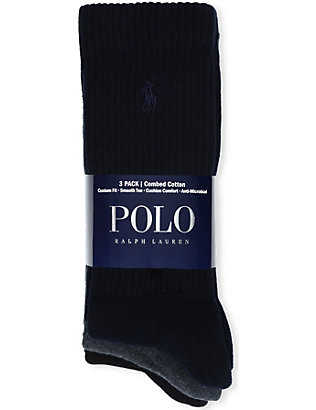 POLO RALPH LAUREN: Set of three combed cotton socks