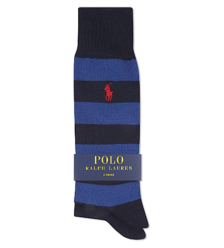 2b01919d75e90 ... POLO RALPH LAUREN Rugby stripe cotton socks pack of two (Navy+assorted.  PreviousNext