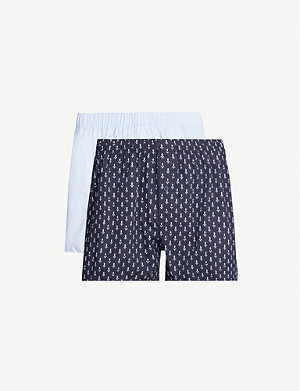 HANRO Plain and print cotton boxers pack of two