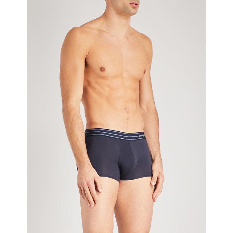 ERMENEGILDO ZEGNA   Ermenegildo Zegna Mens Dark Blue Core Slim-Fit Stretch-Cotton Trunks, Size: XXL   Goxip