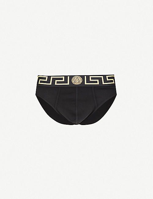 VERSACE: Pack of two Iconic slim-fit stretch-cotton briefs