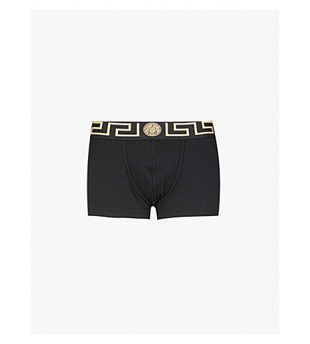 Pack Of Two Iconic Slim-Fit Stretch-Cotton Trunks, Black/Gold