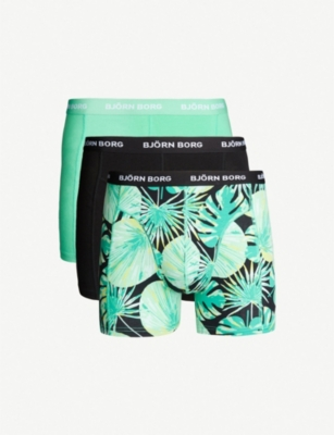 BJORN BORG Pack of three LA garden print slim-fit stretch-cotton trunks