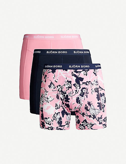 BJORN BORG Pack of three floral-print and colour-blocked slim-fit stretch-cotton trunks