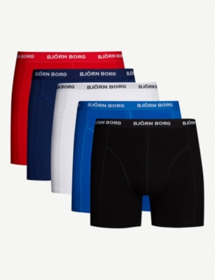 BJORN BORG Pack of five perfect-fit cotton-jersey boxer briefs