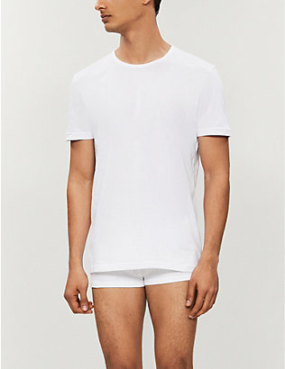 EMPORIO ARMANI: Pack of two crewneck cotton-jersey t-shirts