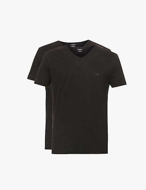 EMPORIO ARMANI: Pack of two v-neck cotton-jersey t-shirts