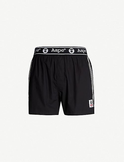 AAPE Logo-print relaxed-fit cotton-poplin swim shorts 5f733aae3