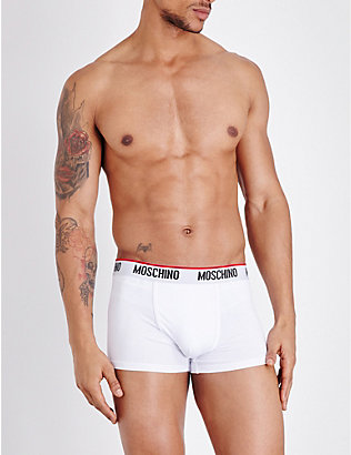 MOSCHINO: Pack of two Tape slim-fit stretch-cotton trunks