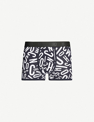 MOSCHINO Logo-print stretch-cotton trunks