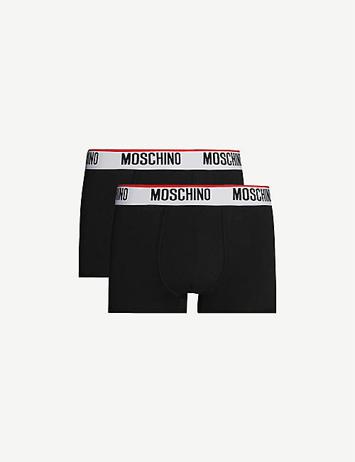 MOSCHINO: Pack of two logo-embroidered classic fit stretch-cotton trunks
