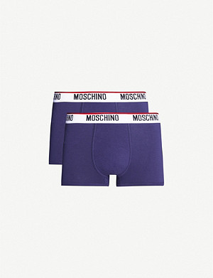 MOSCHINO Pack of two logo-embroidered classic fit stretch-cotton trunks