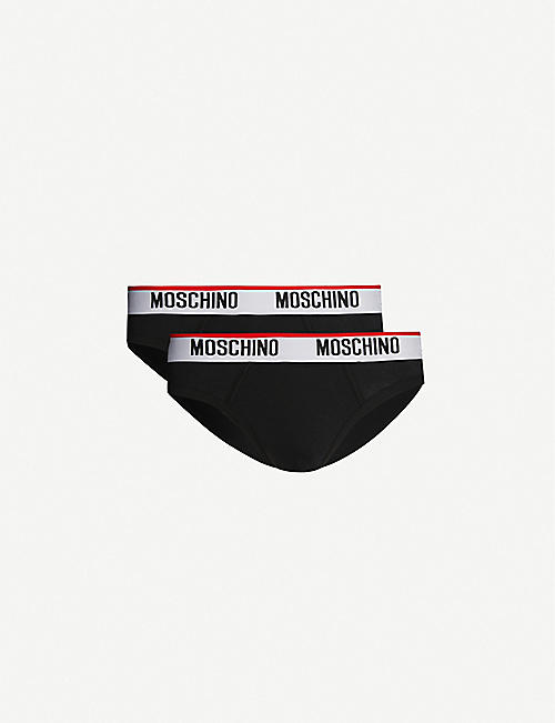 MOSCHINO: Pack of two logo-embroidered classic fit stretch-cotton briefs