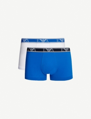 EMPORIO ARMANI Pack of two logo-embroidered slim-fit stretch-cotton trunks