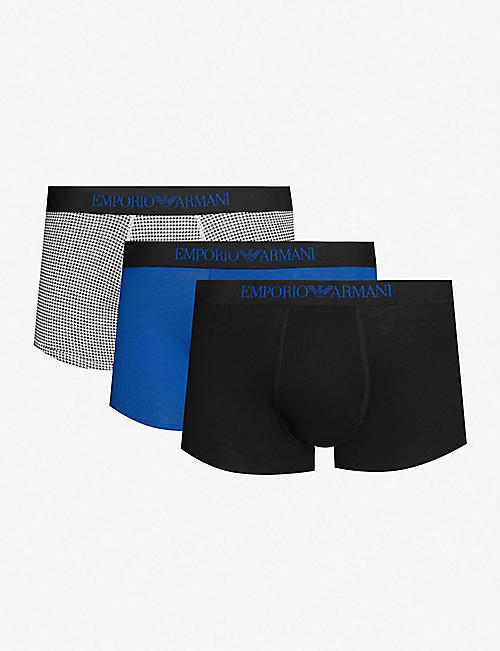 EMPORIO ARMANI Pack of three slim-fit cotton-jersey trunks e38b7bb5d88