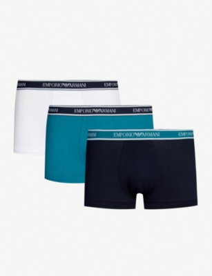 EMPORIO ARMANI Pack of three Eagle regular-fit stretch-cotton trunks