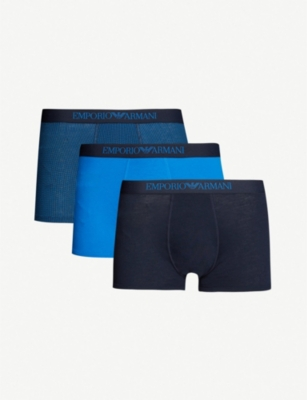 EMPORIO ARMANI Branded slim-fit pack of three cotton trunks