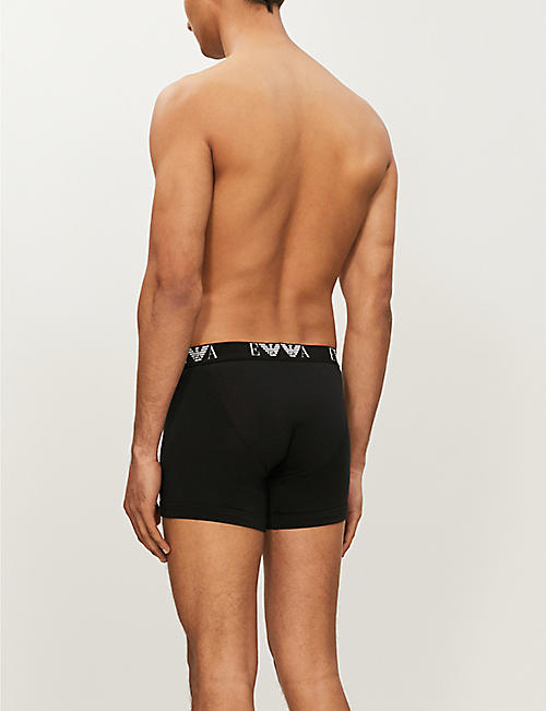 EMPORIO ARMANI Pack of two logo-detail regular-fit stretch-cotton boxers