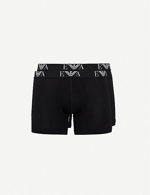 EMPORIO ARMANI: Pack of two logo-detail regular-fit stretch-cotton boxers