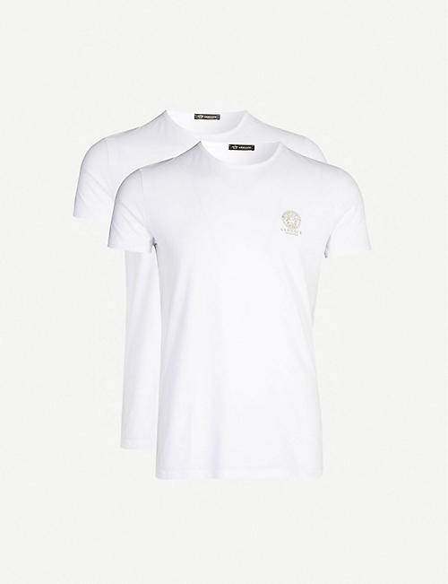 2185f1819c7 VERSACE Logo-print stretch-cotton pack of two T-shirts
