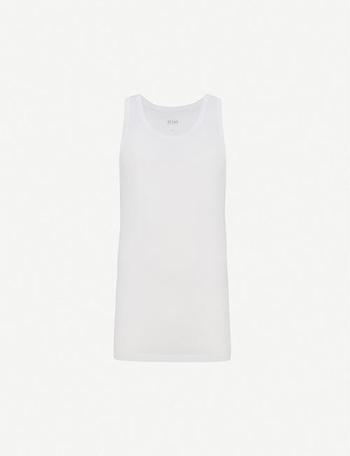BOSS: Regular-fit pack of three cotton-jersey tank tops