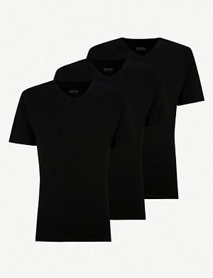 BOSS V-neck cotton-jersey T-shirts pack of three