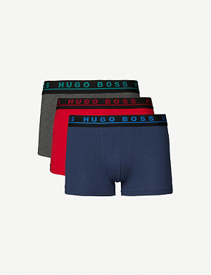 BOSS Pack of three logo stretch-cotton boxers