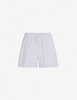 SUNSPEL Pinstripe relaxed-fit cotton boxer shorts