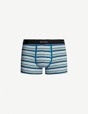 PAUL SMITH Striped slim-fit stretch-cotton trunks