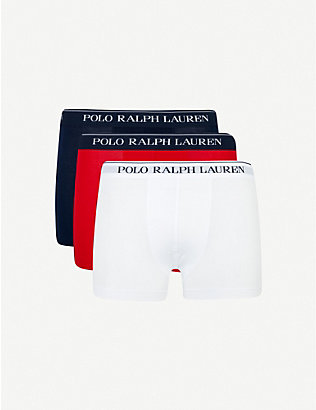 POLO RALPH LAUREN: Pack of three slim-fit stretch cotton trunks