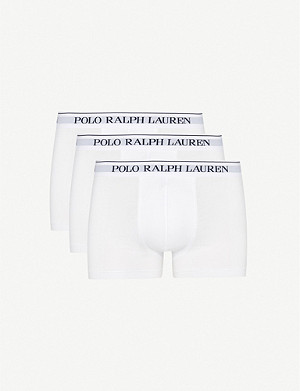 POLO RALPH LAUREN Pack of three logo–waistband classic-fit stretch-cotton trunks